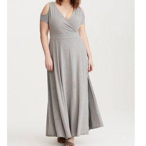 Torrid Grey Jersey Cold Should Surplice Maxi Dress